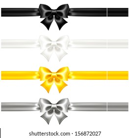 Raster illustration - collection of silk bows with ribbons.
