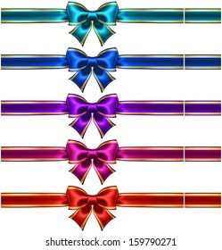 Raster illustration - collection of silk bows in dark colors with ribbons and golden edging.