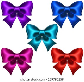 Raster illustration - collection of silk colored bows.