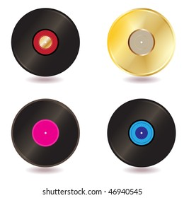 raster - Illustration of a collection of vinyl lp discs and gold CD