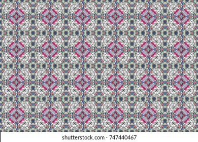 Raster illustration. Cute Floral pattern in the small flower. Flowers on white, beige and violet colors.