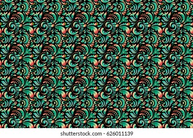 Raster illustration. Decorative symmetry arabesque. Good for greeting card for birthday, invitation or banner. Multicolor seamless pattern on a black background. Medieval doodle royal pattern.