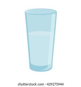 Raster illustration drinking water. Glass of clean water. Glass  icon flat design. Glass of water. Aqua