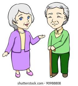 raster illustration of elders