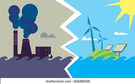 Raster illustration of evolution from industrial pollution to clean energy. Greening of the world banner. Traditional and alternative natural electricity resources. Development green technology