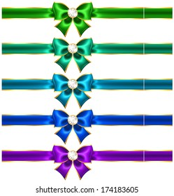 Raster illustration - festive bows with diamonds and ribbons.