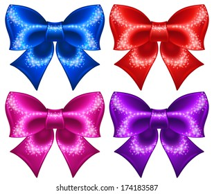 Raster illustration - festive bows with glitter.