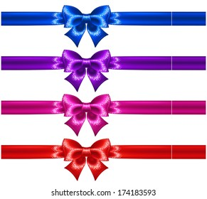 Raster illustration - festive bows with glitter and ribbons.