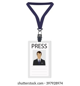 Raster illustration flat design name tag badge template. White plastic lanyard badge with man photo for press