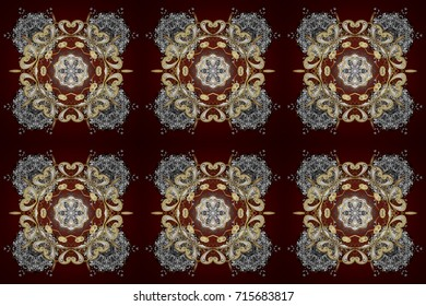Raster illustration. Flat lay. Winter concept. Winter pattern made of snowflake on red background.