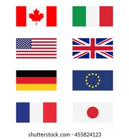 raster illustration g8 countries flags. Canada, Germany, France, Japan, United Kingdom of Great Britain, EU, Italy and United States