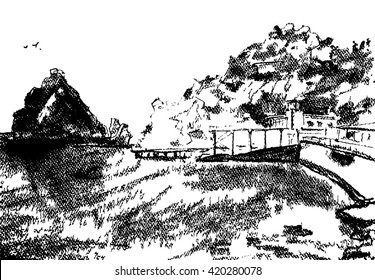 Raster illustration. Graphic art of sea view with rocks on beach. Mountain Diva. Crimea