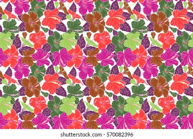 Raster illustration in green, purple and orange colors on a white background. Seamless tropical flower, hibiscus pattern.