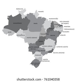 Raster illustration grey map silhouette with Federative Republic of Brazil regions.