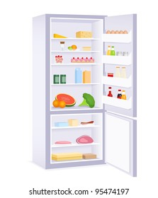 raster illustration of a modern refrigerator with food