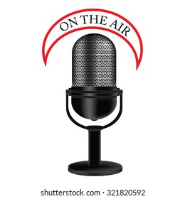 raster illustration of old, retro, vintage microphone with text on the air. Radio symbol or concept
