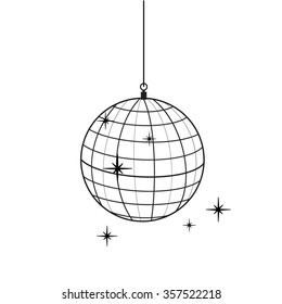 Raster illustration outline drawing sparkling disco ball. Flat icon.
