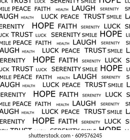 Raster illustration  pattern, background with words hope, luck, peace, smile, trust, serenity and laugh