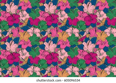 Raster illustration. Raster illustration of pink and orange hibiscus flowers. Seamless pattern with pink and orange flowers.