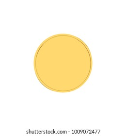 Raster illustration realistic golden badge, label or button icon.