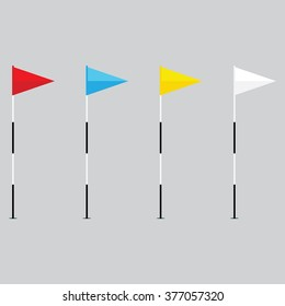 Raster illustration red, blue, yellow and white flags of the golf course on gray background.