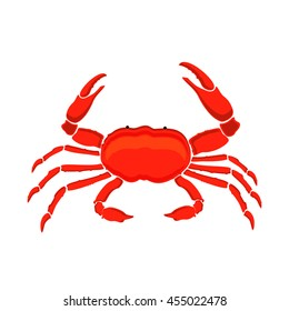 Raster illustration red crab isolated on white background. Crab icon. Seafood shop logo branding template for craft food packaging or restaurant design.