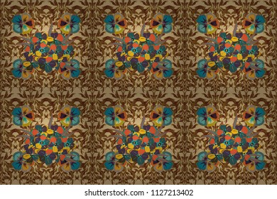 Raster illustration. Seamless floral pattern in beige, blue and brown colors with motley primula flowers.
