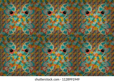Raster illustration. Seamless floral pattern in beige, blue and orange colors with motley cosmos flowers.