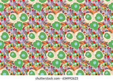 Raster illustration. Seamless pattern with cute flowers in gray and beige colors.