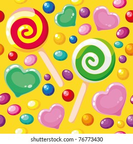 raster illustration of a seamless pattern cute candies