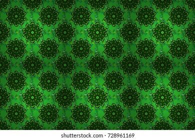 Raster illustration. Seamless pattern with floral ornament. Flowers on green, black and blue colors.