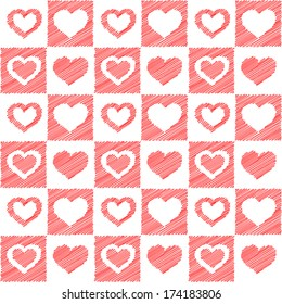 Raster illustration - seamless red hearts sketch.