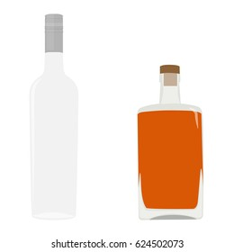 Raster illustration set, collection of alcohol bottles. Alcohol drinks icons. Glass vodka and whiskey bottle