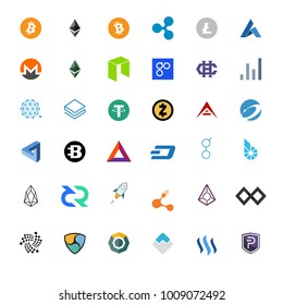 Raster illustration set, collection of crypto currency blockchain flat logo isolated on white background.