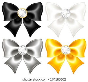 Raster illustration - silk bows black and gold with diamonds.