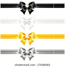 Raster illustration - silk bows black and gold with diamonds and ribbons.
