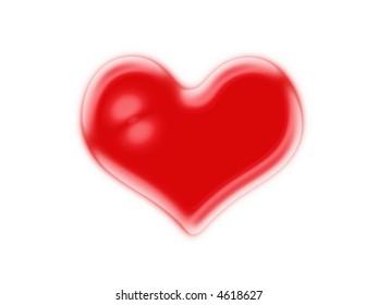 Raster illustration of single heart shape, isolated on white background