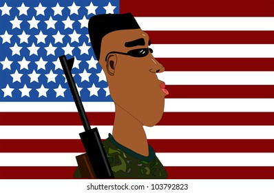 raster illustration of soldier in front of american flag