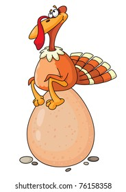 raster Illustration of a turkey and egg