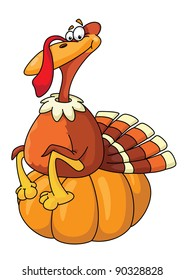 raster illustration of a turkey on pumpkin
