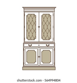 Raster illustration  vintage cabinet icon. Retro interior furniture. Antique, retro furniture. 18th century style interior.