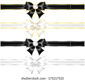 Raster illustration - white and black bows with diamonds gold edging and ribbons.