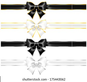 Raster illustration - white and black bows with gold and silver edging and ribbons.