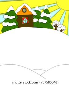 """Raster illustration """"Winter"""". White background for your text, green Christmas tree, rustic house, snow. A good option for decorating a calendar, postcard, poster."""