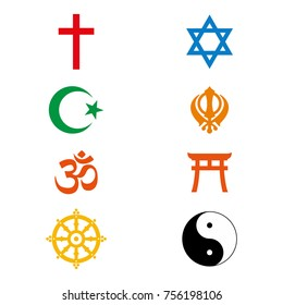 Raster illustration. World religious signs and symbols collection in colour.