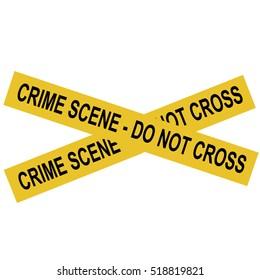 Raster illustration yellow police crime scene danger tape. Do not cross
