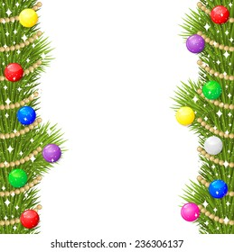 Raster illustrations of Christmas greeting card with fir branch garland decorated multicolor balls and gold beads