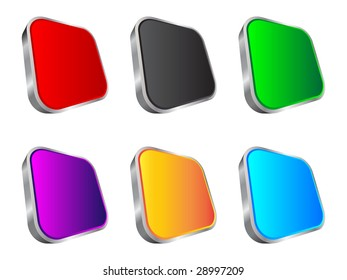 (raster image of vector) 3d web buttons different colors