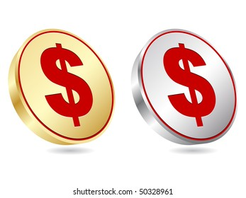 (raster image of vector) dollar coins