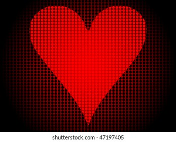 (raster image of vector) poker banner-heart